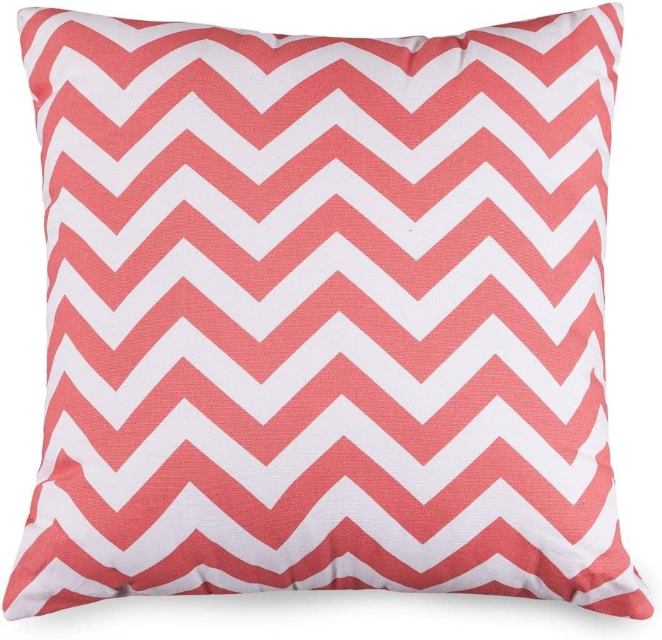Majestic Home Goods Pillow, X-Large, Coral Chevron