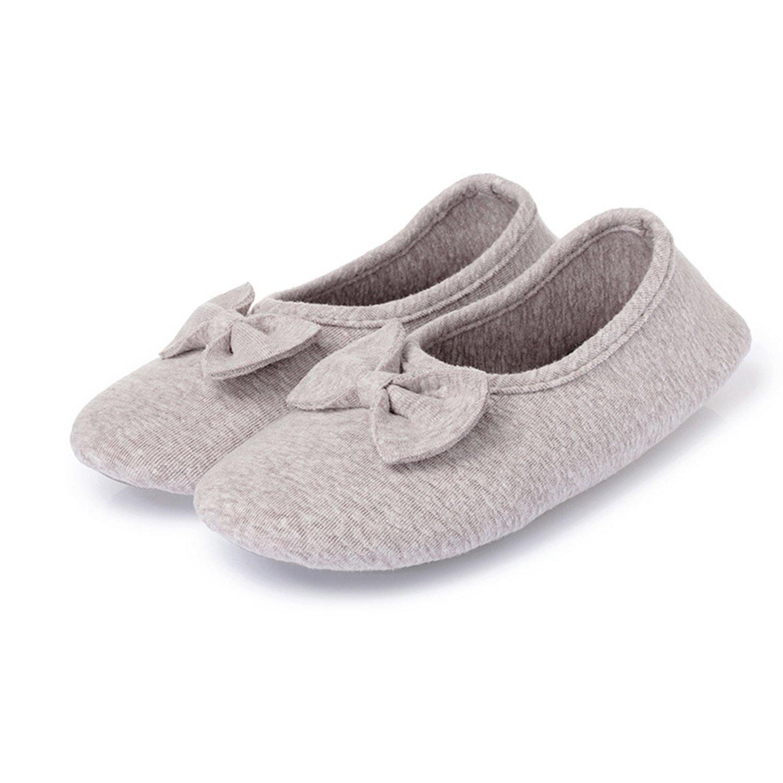 L-RUN Womens Ballerina Slipper Indoor Anti-Slip House Shoes Grey M(W:7-7.5) M US