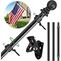Flag Pole Kit, 5 FT Flag Pole for House, Outdoor Metal Aluminum Flagpole, Wall Mounted Tangle Free American Flag Poles…
