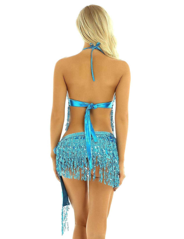 YiZYiF Vestito da Latino Americano Donna con Nappa Abito da Ballo Rumba Samba Salsa Vestito da Danza del Ventre Paillettes Frange Lustrino Reggiseno da Danza//Sciarpe