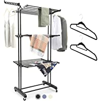 MIZGI Clothes Drying Rack,3 Tier Rolling Dryer Clothes Hanger,Collapsible Garment Laundry Rack with Foldable Wings and…