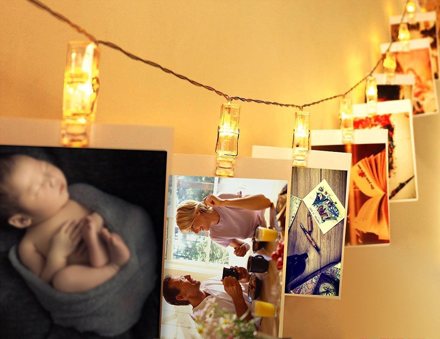 LED String Light with Clothespins, Clip, for Hanging Pictures, Photos, Artworks and More..