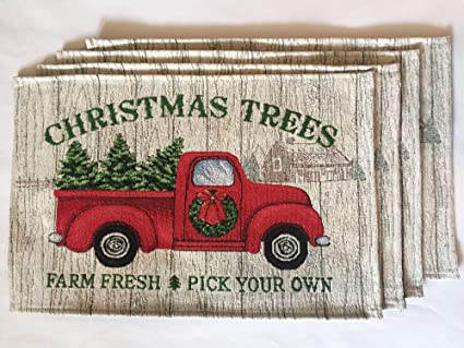 Vintage Red Truck Christmas Placemats.Amazon Com Winter Wonder Lane Christmas Tapestry Place Mats