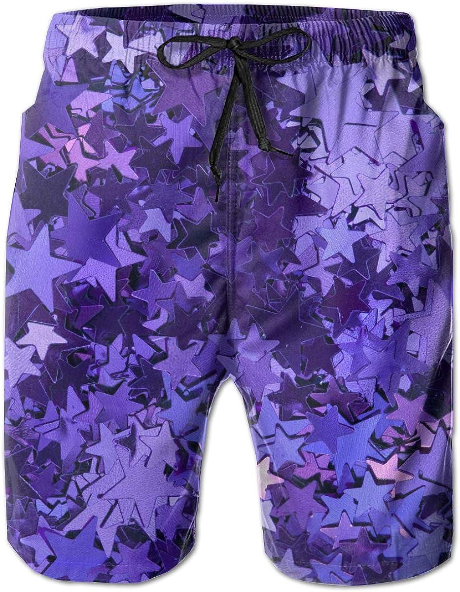 Purple Foil Stars Mens Drawstring Waist Swim Trunks Boardshort