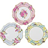 Talking Tables Truly Scrumptious Floral Plates for a Tea Party, Wedding, Multicolor (24 Pack)