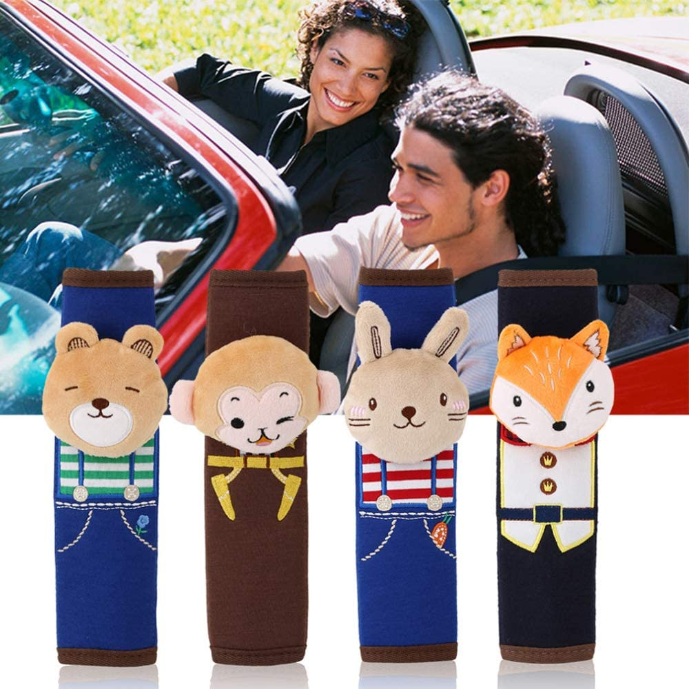 Car Seat Belt Pad Cover Cute Cartoon Style Children Safety Belt Plush Seat Harness Shoulder Pad Cushion Protecting Cover Foxes Style