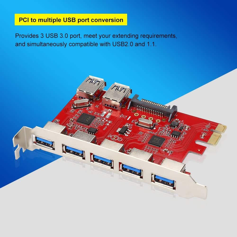 Plug and Play RJ45,Superspeed 7 USB Ports 1Gbps VIA Expansion Board Card Adapter PCI-E to 5 Port USB 3.0 2 Port USB 3.0 ASHATA PCI-E to USB 3.0 Expansion Card