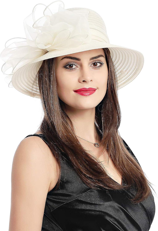 Jasmin Lady Derby Dress Church Cloche Hat Bow Bucket Wedding Bowler Hats
