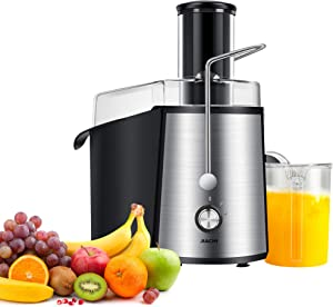 Jiachi 700W NaturoPure Powerful Whole Fruit and Vegetable Juice Extractor, Centrifugal Juicer Machine with 2 Speed Settings, BPA-Free, 75MM Wide Mouth with 1L Juice Jug & 2L Pulp Container