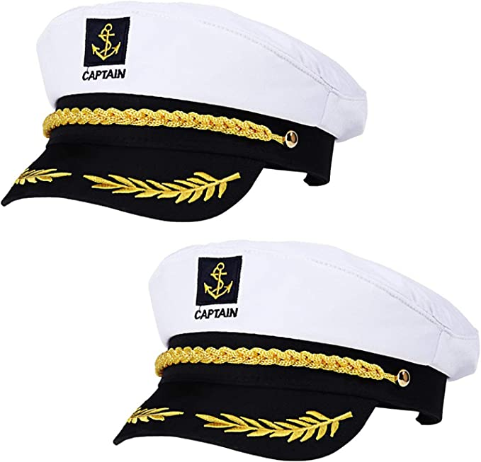 REAMOUS 2 Pcs Capitán Adulto Sombrero de Cosplay Gorra Yate Barco ...
