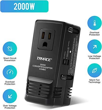 DOACE 2000W Travel Voltage Converter and Power Adapter Step Down 220V to 110V