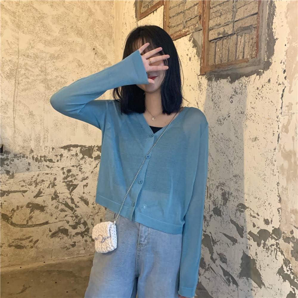 ZZAI Maglione Sciolto Color Caramella - Maglione da Donna A Maniche Lunghe Sottile in Seta Color Ghiaccio,Orange Blue