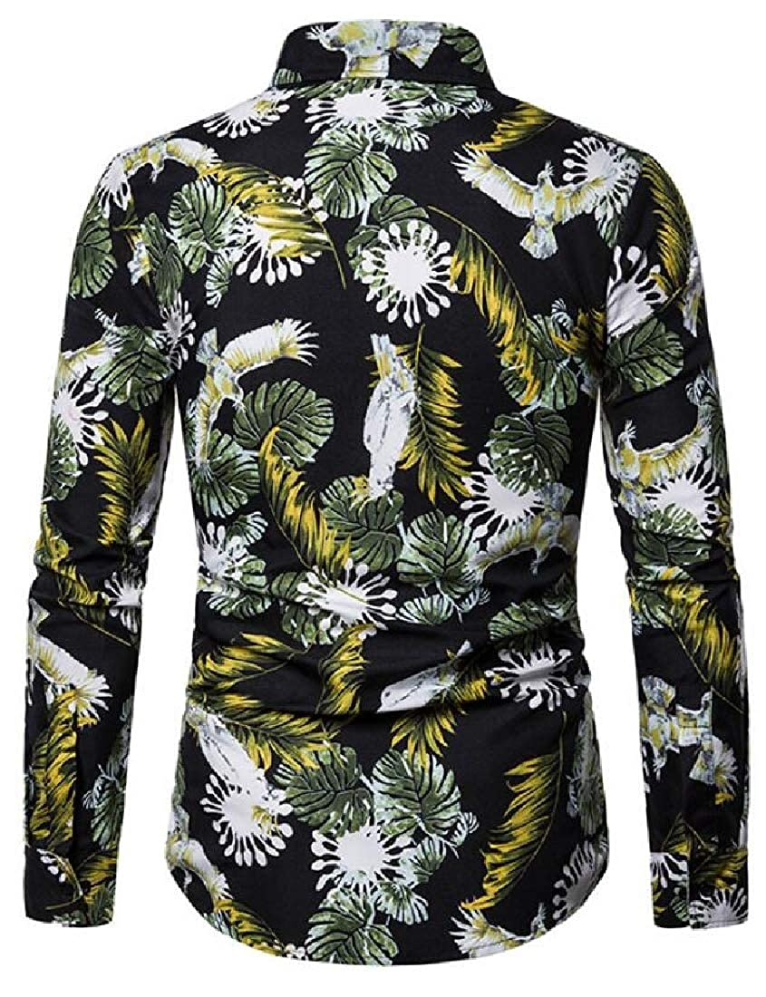 CRYYU Men Casual Long Sleeve Button Up Floral Print Slim Fit Top Shirts