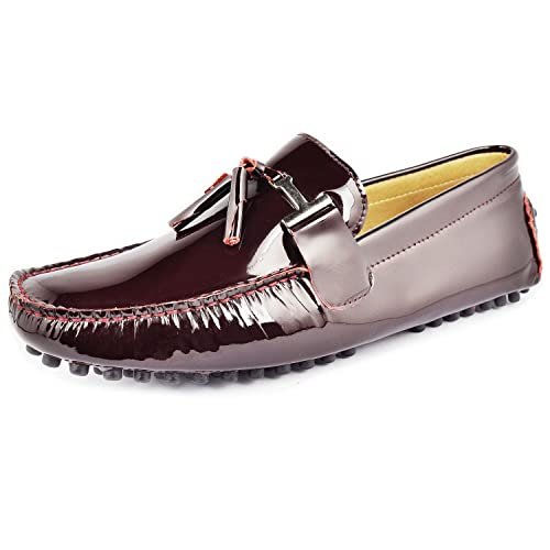 9c24c45e7188d Fulinken New Patent Leather Men Tassel Slip on Loafers Casual Shoes Diving  Shoes Dress Shoe (