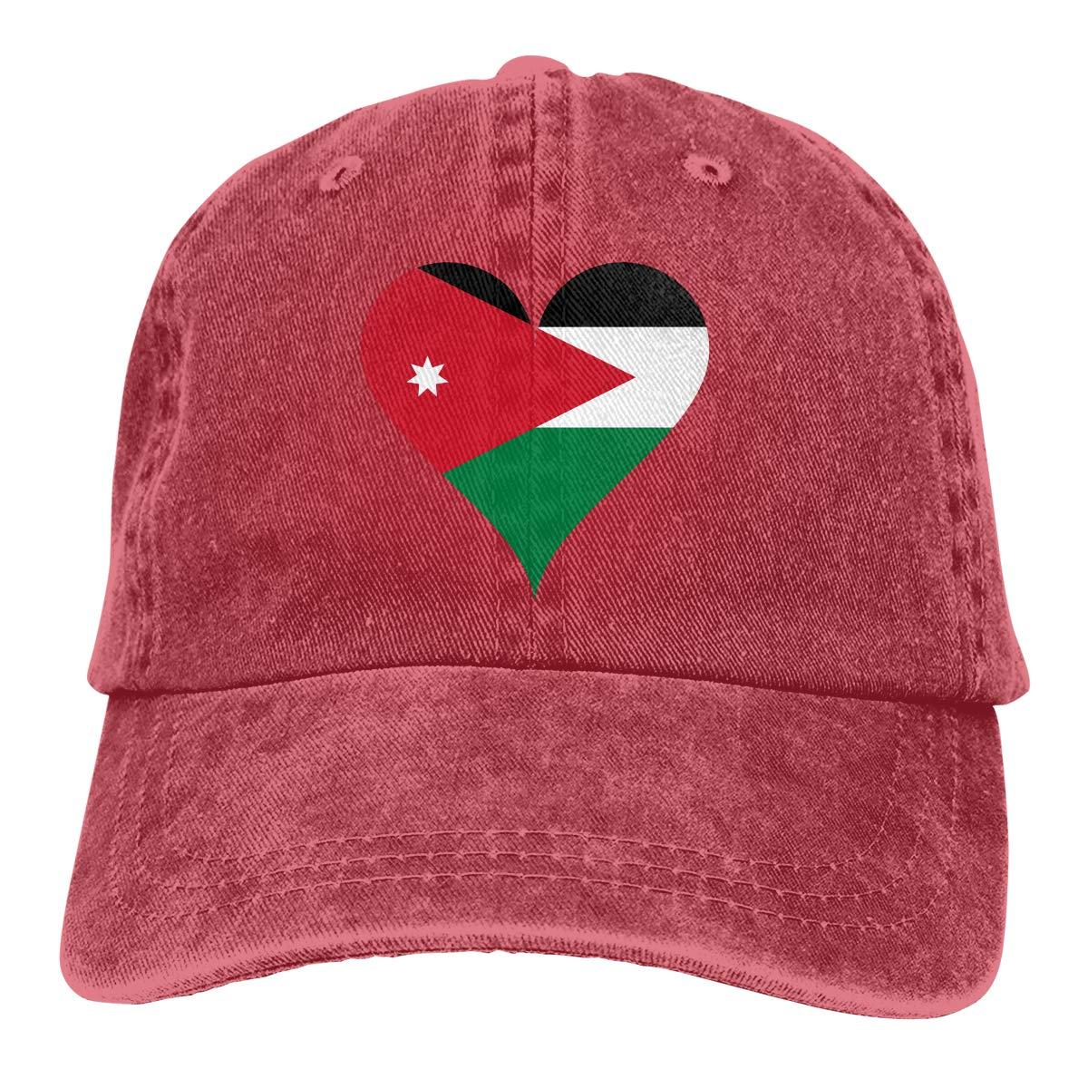 Amazon.com  Unisex Heart Love Affection Jordan Flag Vintage Chic Denim  Adjustable Dad Hats Baseball Cap Black  Clothing 165084b3f27