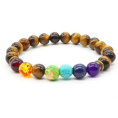Natural Tiger Eye Stone Bracelet 8MM Semi-precious Stones Bracelet Charms for Women and Men 7 Chakra Reiki Energy Balance MYEJ6V