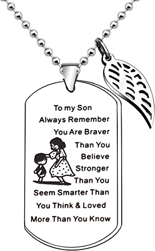 2Pcs A Letter to My Son Dog Tag Necklace Pendant Men Stainless Steel Jewelry