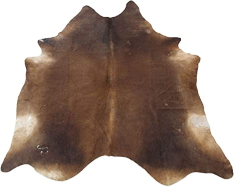 Amazon Com Large Exotic Brown Black Cowhide Rug 6x7 Ft Hair On Leather Area Rug Suede Leather Backing Kitchen Dining