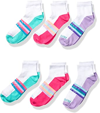 Pack of 6 Fruit of the Loom Girls Active Cushioned Ankle Socks