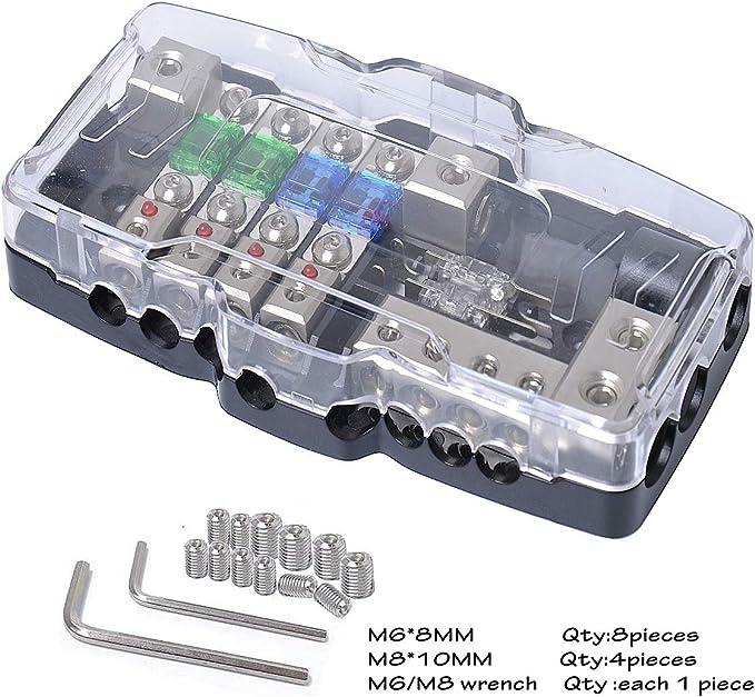 Camper Kfz Verteilerblock Sicherungshalter Autobatterie Stromverteiler Mini Anl Sicherungskasten 0 4ga Rote Led Anzeige 30a 60a 80a Sicherung Sicherungsverteiler Auto