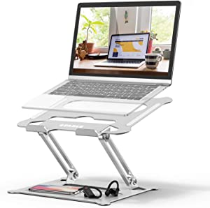 Adjustable Laptop Stand, FYSMY Ergonomic Portable Computer Stand with Heat-Vent to Elevate Laptop, 13 Lbs Heavy Duty Laptop Holder Compatible with MacBook, Air, Pro All Laptops (Silver)