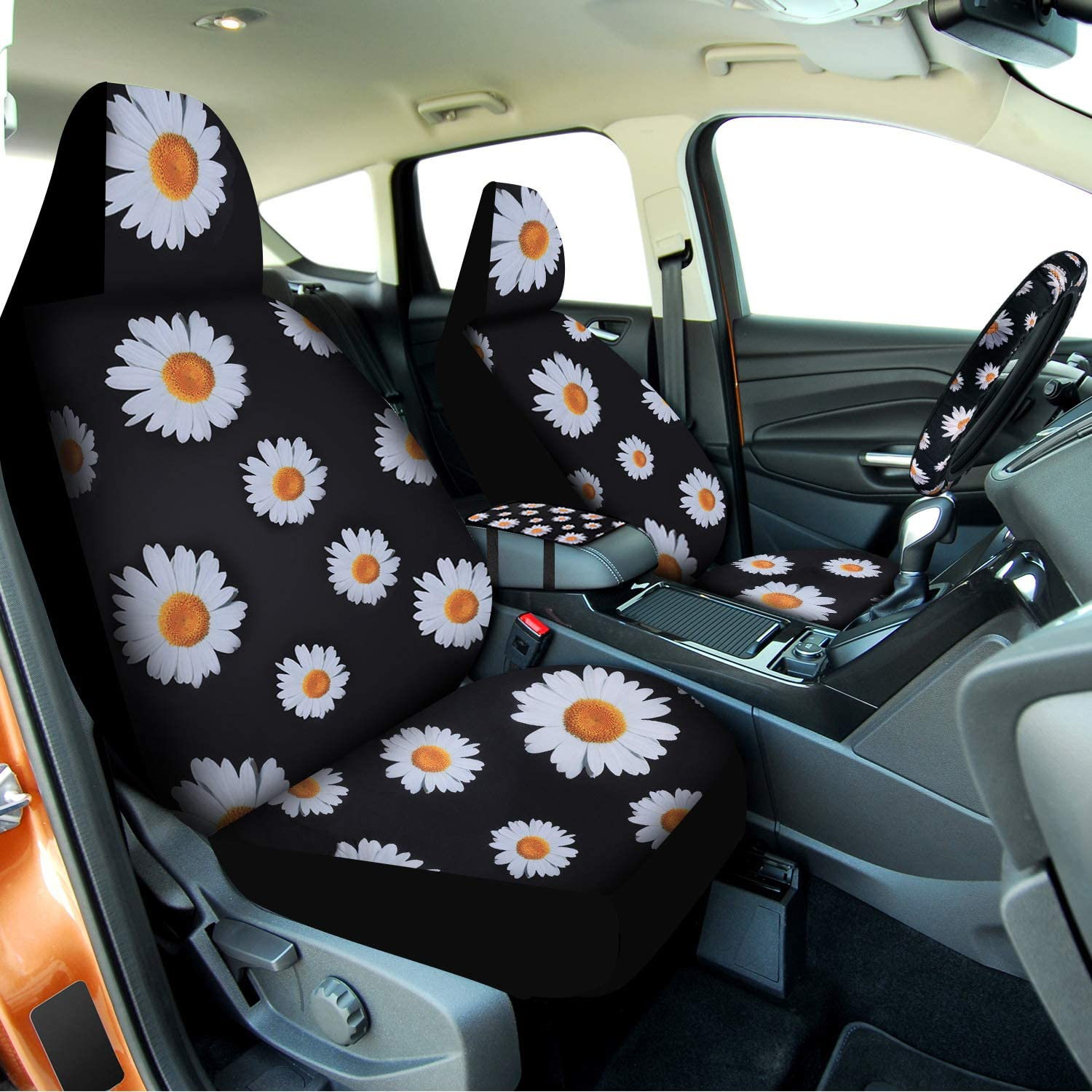 and Car Cup Holder Coaster for Most Car Decoration 8 Pieces Daisy Car Accessories Set Includes Car Front Seat Covers Steering Wheel Covers Seat Belt Shoulder Pads Covers Center Console Armrest Pad
