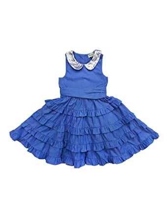 4716a8c6f Sophie Catalou Little Girls Blue Sequin Adorned Peter Pan Collar Party Dress  2