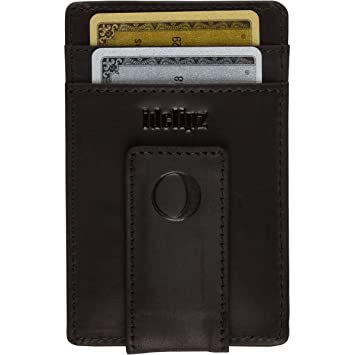 san francisco ef0c6 fca4c Slim Leather Money Clip Wallet for Men - Best Front Pocket Wallet with  Credit Card Holder & ID Case - RFID Blocking (Cool Black)