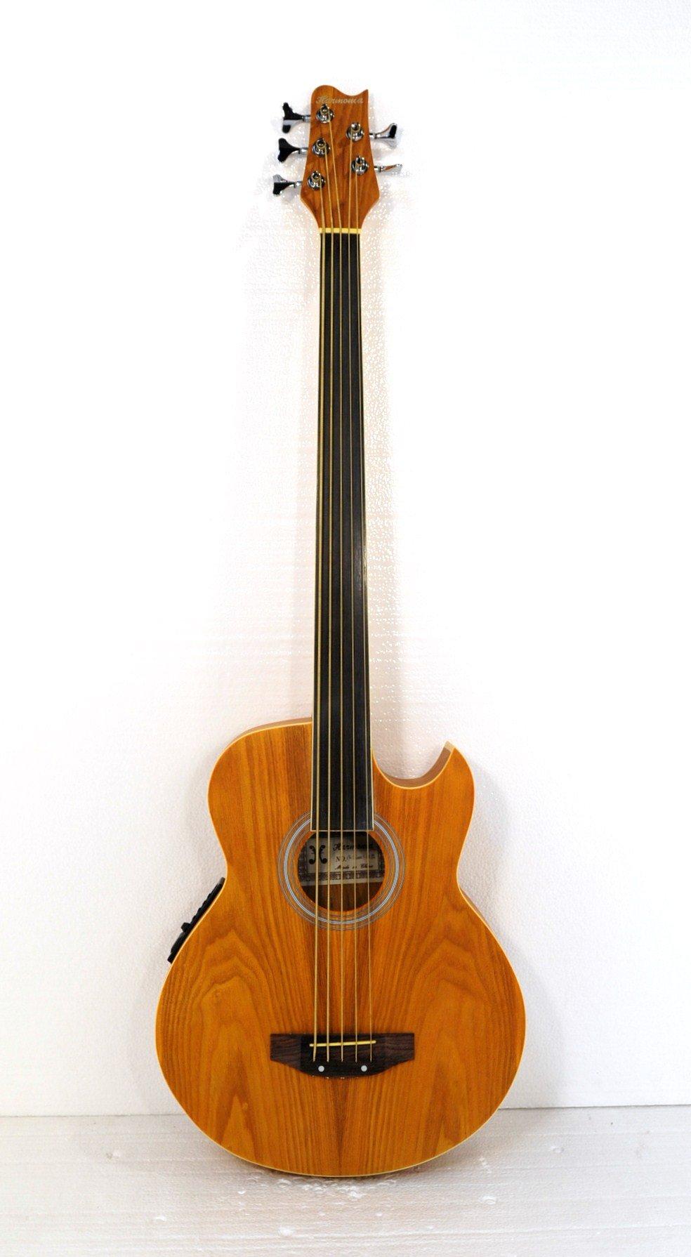 5 String Fretless Acoustic Electric Cutaway Bass w/ Gig Bag
