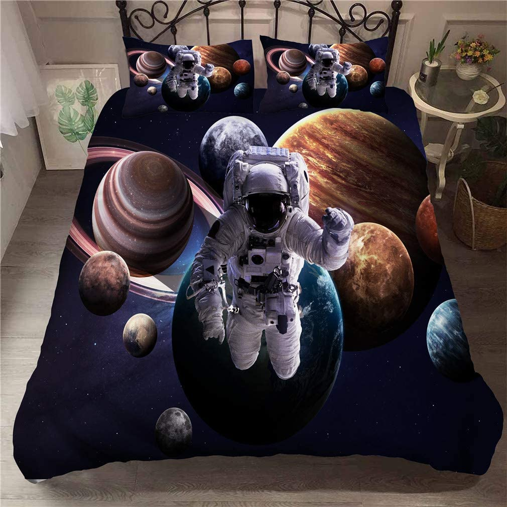 3D Printed Astronaut Leaving the Earth into Outer Space with 9 Planets Image Blue Brown URLINENS Space Astronaut Duvet Cover Set for Boys Girls Twin 3 Piece Decorative Bedding Set with 2 Pillowcase