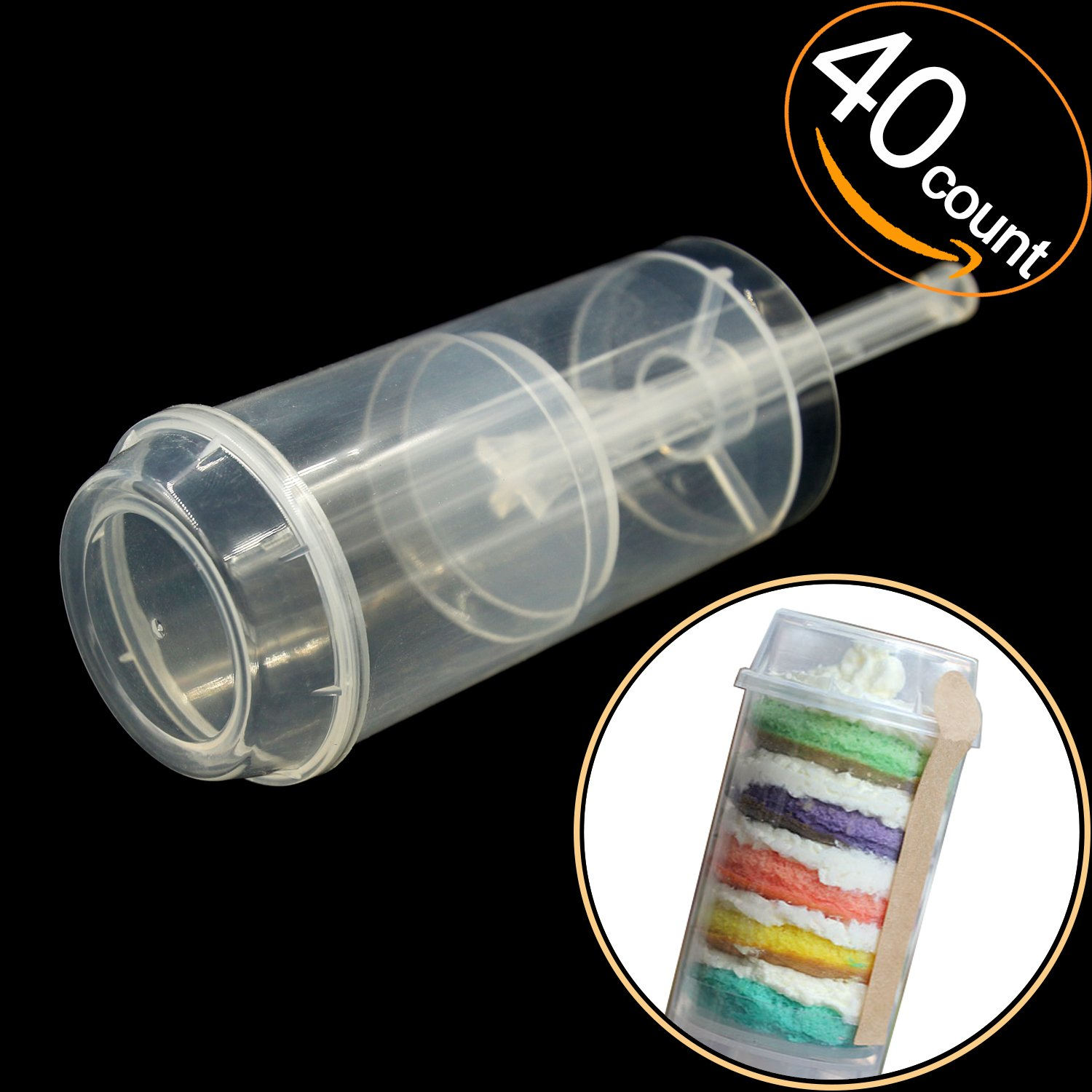 EKIND Round Shape Clear Push-Up Cake Pop Shooter (Push Pops) Plastic Containers with Lids, Base & Sticks, Pack of 40