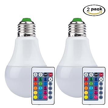 Techken 2 PCS LED Birne mit Fernbedienung, 16 Farben ändern Dimmable ...