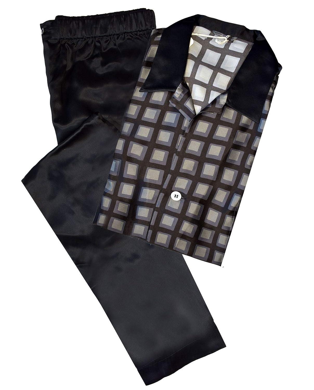 Brioni Mens Black Geometric Print 100/% Silk Pajamas