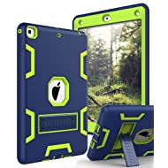 TIANLI Case for iPad 9.7 2018,Case for iPad 6th Generation Three Layer Heavy Duty Shockproof Protective Hybrid High Impact Resistant Cover with Kickstand for iPad 2017/2018,Nave Blue Lemon Yellow
