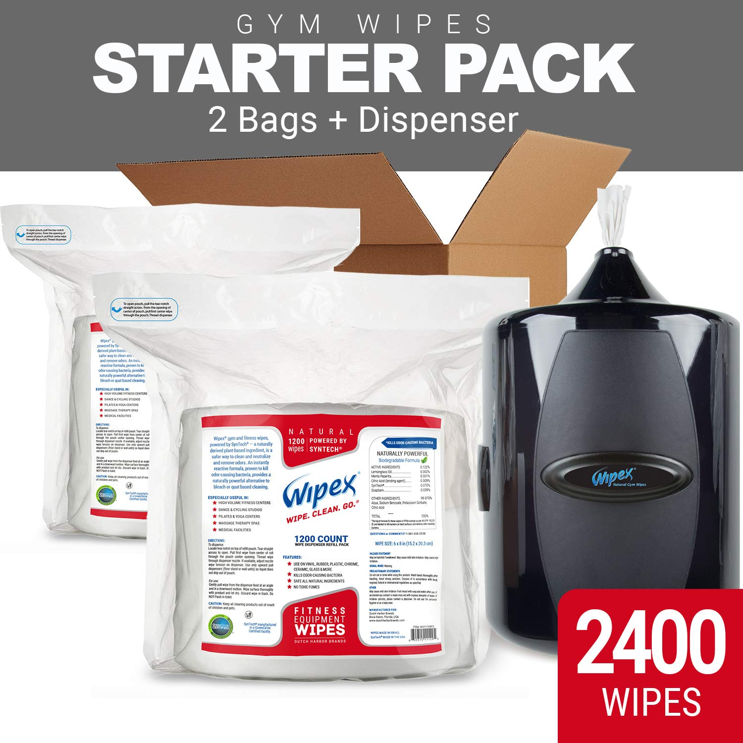 Gym Wipe Starter Pack: Get a Upward-Pull Wall Dispenser Plus (2 X 1200ct Refills) Natural Gym Equipment Wipes Powered by SynTech for Dispensers, Kills Odor-Causing Bacteria, Unscented, Hypoallergenic