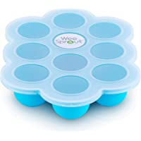 Silicone Baby Food Freezer Tray with Clip-on Lid by WeeSprout - Perfect Storage Container for Homemade Baby Food…