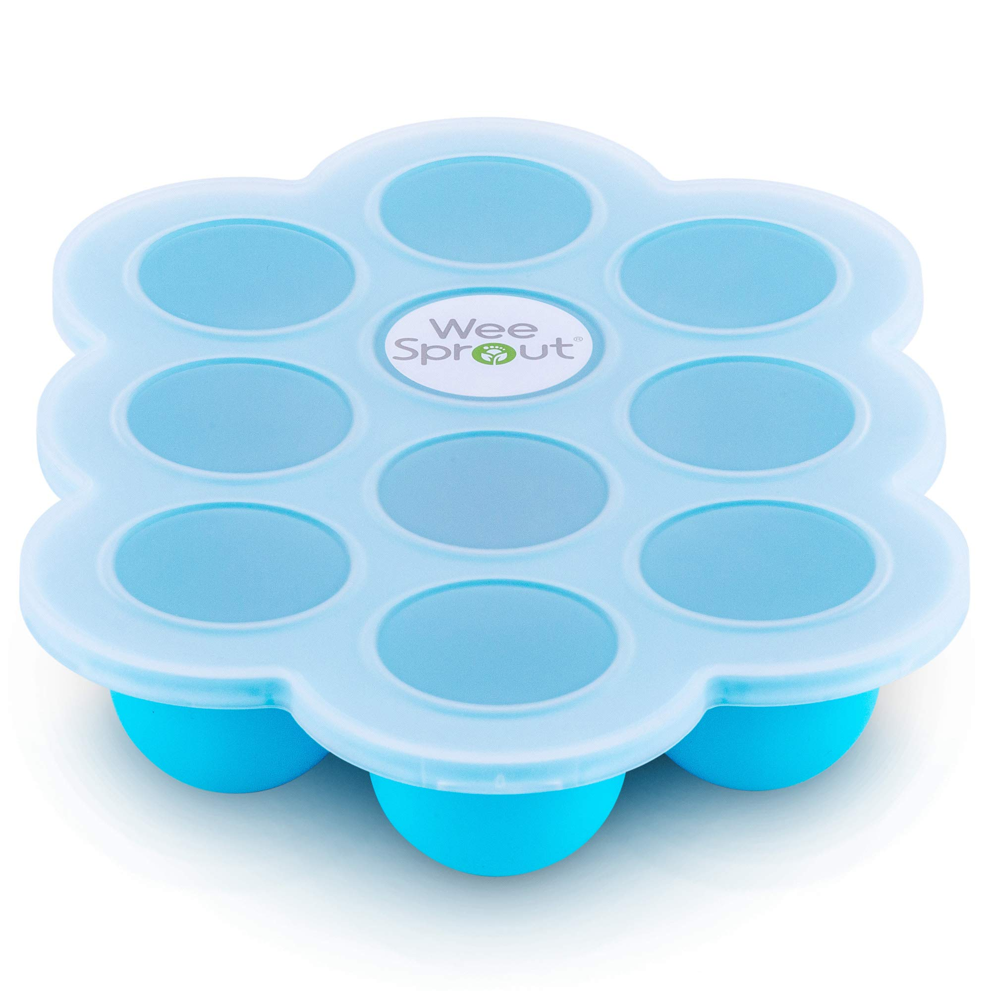 Silicone Baby Food Freezer Tray with Clip-on Lid by WeeSprout - Perfect Storage Container for Homemade Baby Food, Vegetable & Fruit Purees and Breast Milk - BPA Free & FDA Approved by WeeSprout