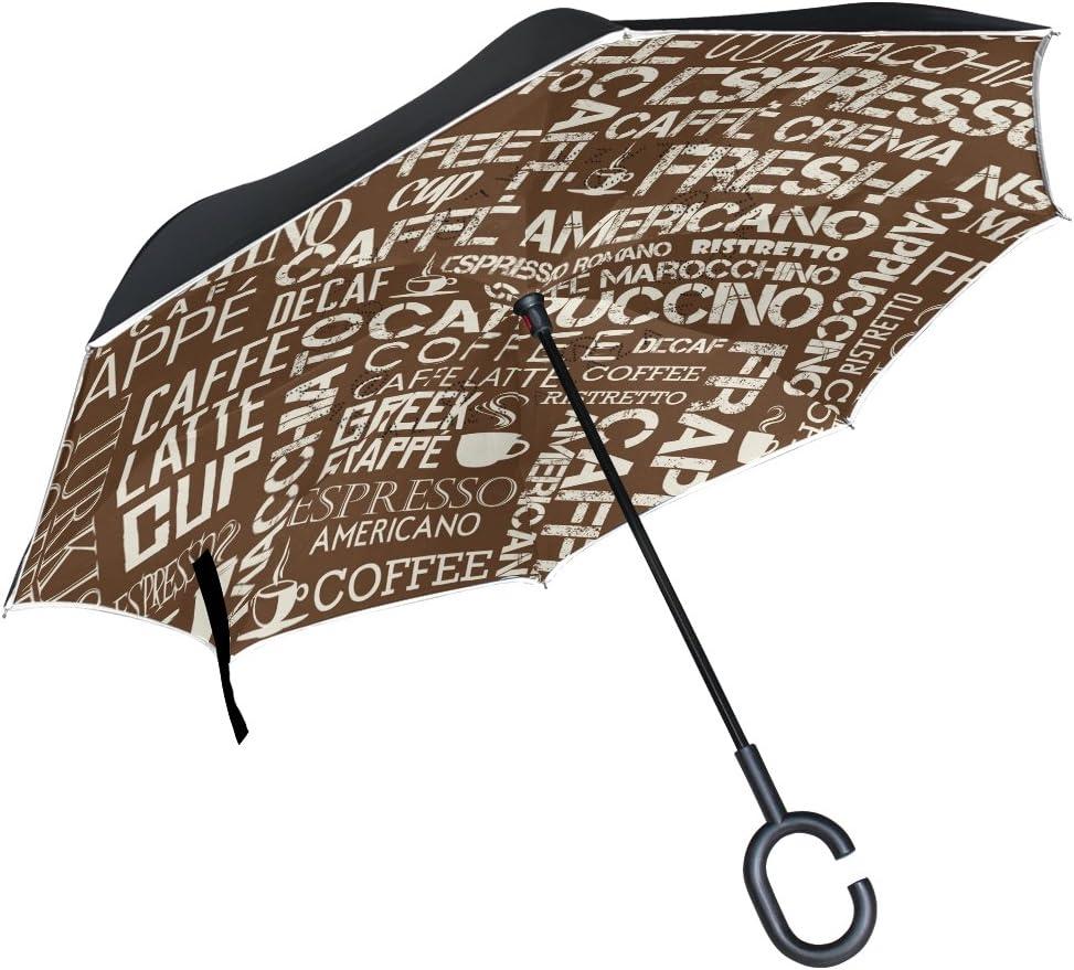 AHOMY Inverted Reverse Umbrella Vintage Letter Symbol Windproof for Car Rain Outdoor