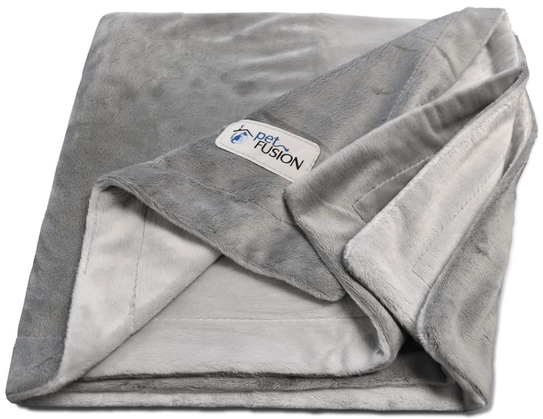 PetFusion Premium Medium Dog Blanket (44x34). Reversible Gray Micro Plush. [100% soft polyester]