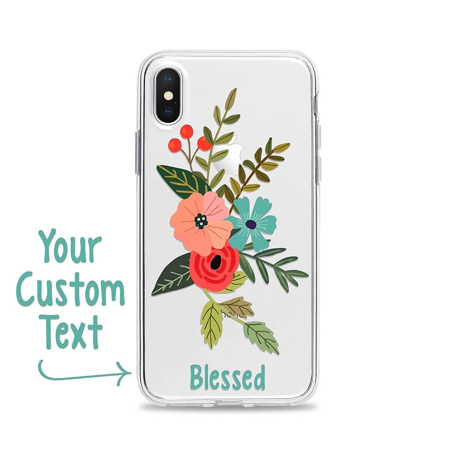 Blessed Phone Case Floral for Apple iPhone XS Max XR X 10S 10R 10 8 7 6s 6 SE 5s 5 Clear Transparent Soft Gel Rubber