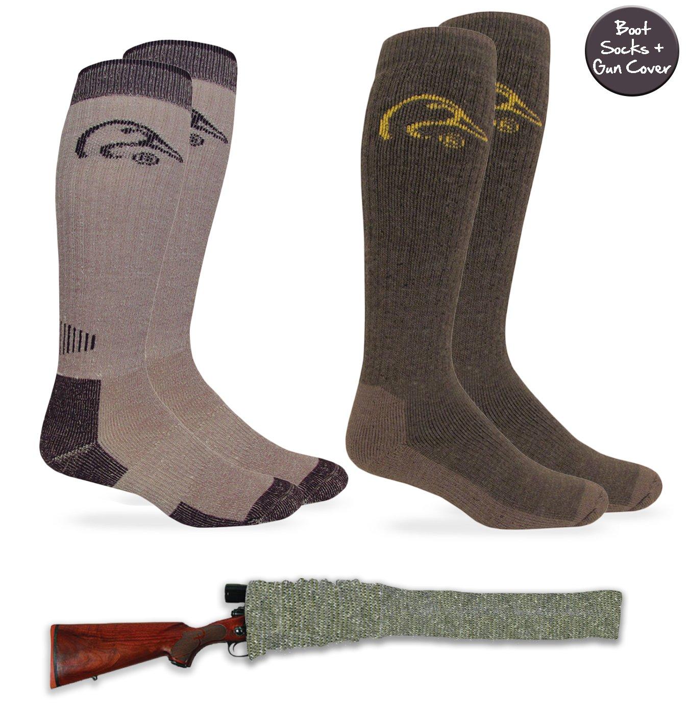 Ducks Unlimited Mens All Season Tall Camo Merino Wool Boot 2 Pair Socks + Silicone Gun Sock Cover Combo Pack (Large (10-13) - USA Shoe 9-13, Olive/Brown + Gun Sock)