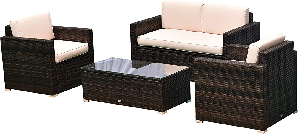 Amazon.com: Outsunny 4-Piece Cushioned Patio Furniture Set, with 2