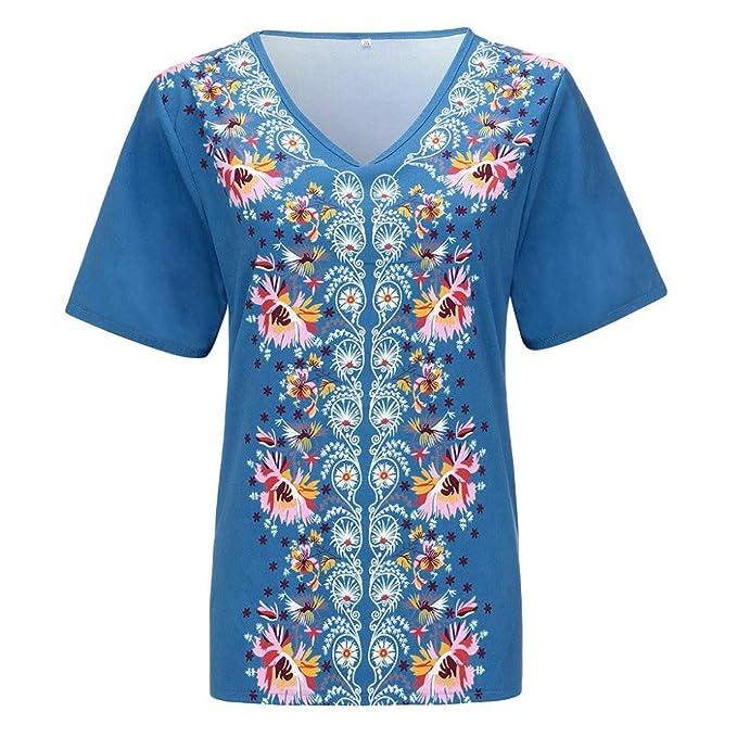 Camiseta para Mujer Moda Retro Impreso Manga Corta Tops Estilo Bohemio Cosiendo Blusa de Cuello en V para Mujer Verano Impresión Diario Casual T-Shirt Blusa ...