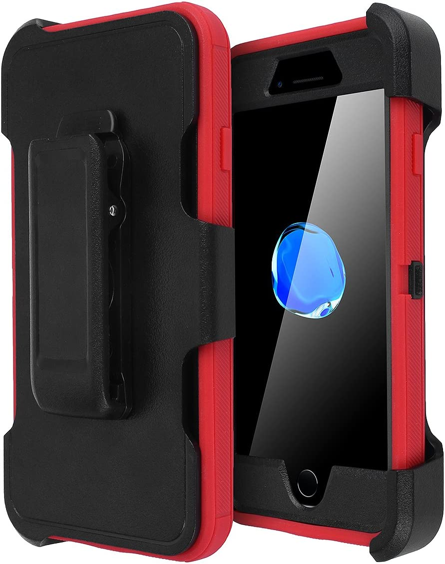 AICase iPhone 8 Plus/7 Plus Case, [Heavy Duty] [Full Body] Tough 4 in 1 Rugged Shockproof Cover with Built-in Screen Protector for Apple iPhone 8 Plus/7 Plus (Black/Red+Belt Clip)