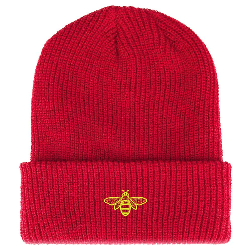 Trendy Apparel Shop Bee Embroidered Ribbed Cuffed Knit Beanie