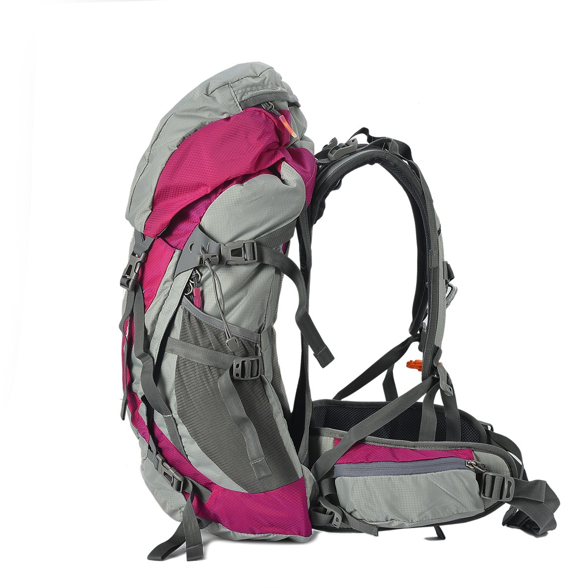 Tofine External Frame Backpack Backpackers Survival Gear Bag for 72 Hour 3 Day with Rain Cover Hot Pink 32L