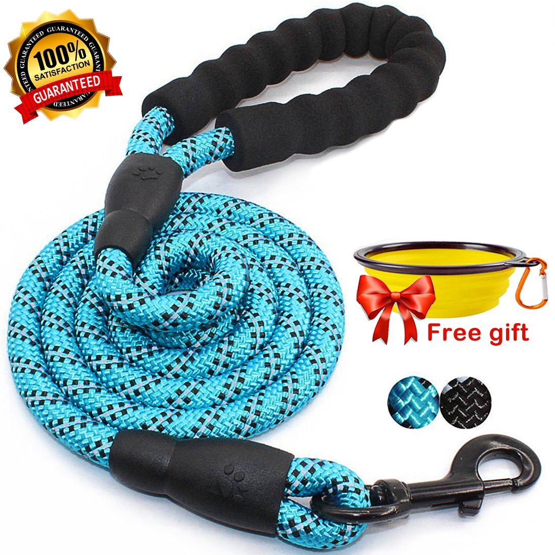 bluee fanson 5ft Reflective Rope Dog Leash for Night Safety Pet Supplies for Medium or Big Dogs   Heavy Duty String for Walking, Hiking, Running, Training, Eco-Friendly, Durable, Stress-Free (bluee)