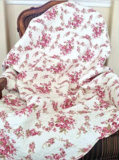 Cozy Line Home Fashions Chic Fuchsia Rose Cream Floral Print Reversible 100% Cotton Quilted Throw