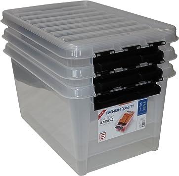 60/x 40/x 44,5/cm Clipbox Smart 45 L Transparente Orthex 34760703/Juego de 3/Cajas de almacenaje de Pl/ástico