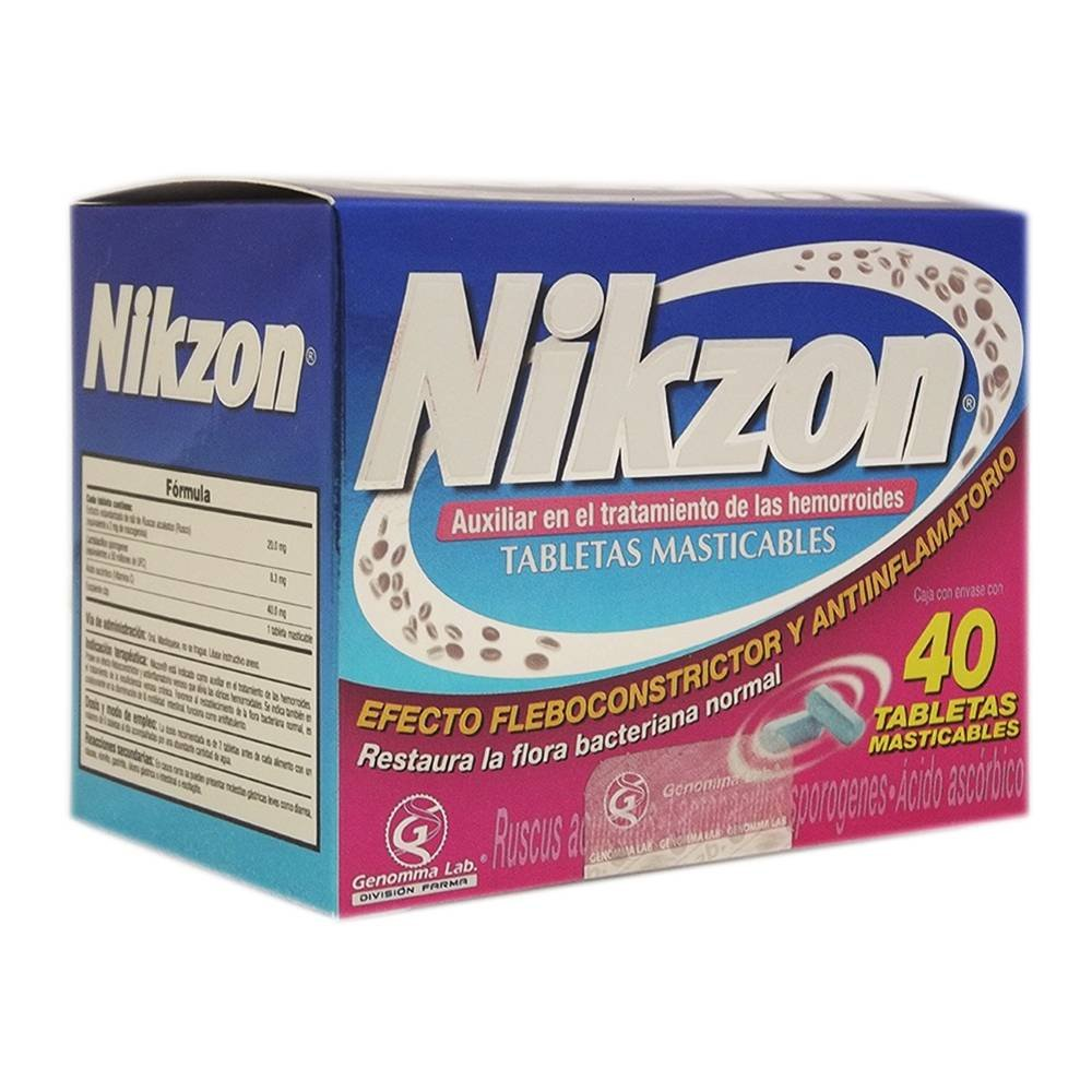 Nikzon 40 Chewable Tablets for Hemorrhoids by Nikzon